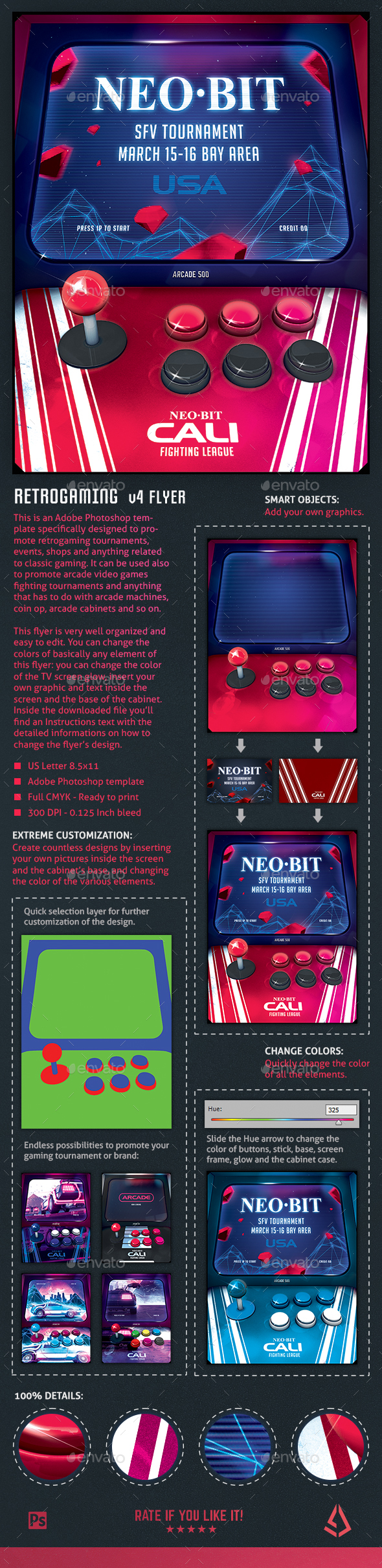 Retro Gaming Flyer IV - Arcade Cabinet Mockup Template - Miscellaneous Events
