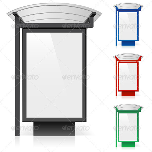A billboard at a bus stop in different colors - Characters Vectors