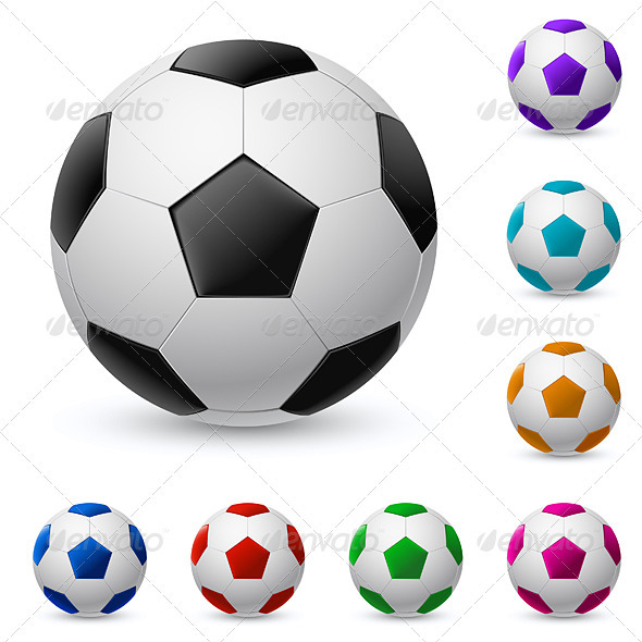 Realistic soccer ball in different colors - Man-made Objects Objects