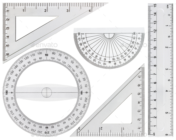 Set of drawing tools, ruler, protractor triangle, isolated on wh - Stock Photo - Images