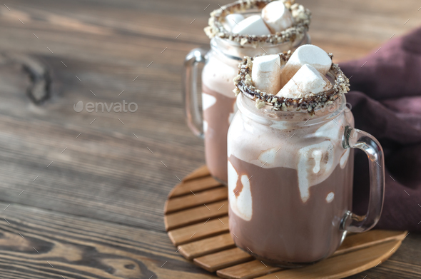 Two mugs of hot chocolate - Stock Photo - Images