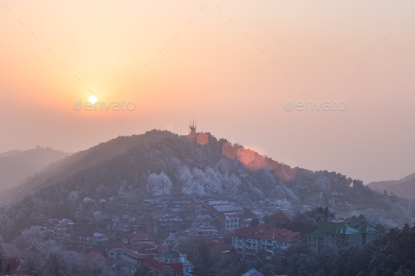 mount lushan at dusk - Stock Photo - Images