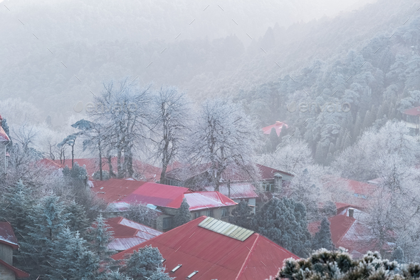 beautiful mount lushan in winter - Stock Photo - Images