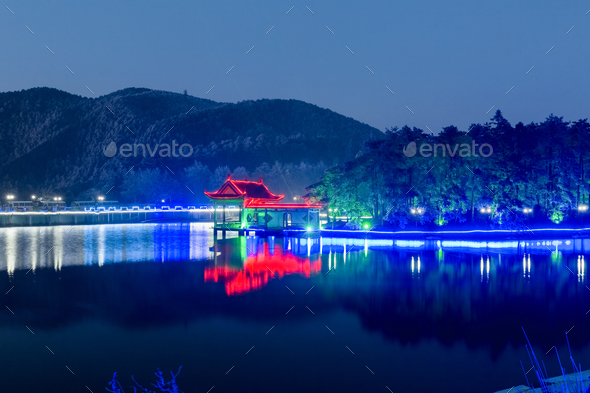 night view of mount lushan - Stock Photo - Images