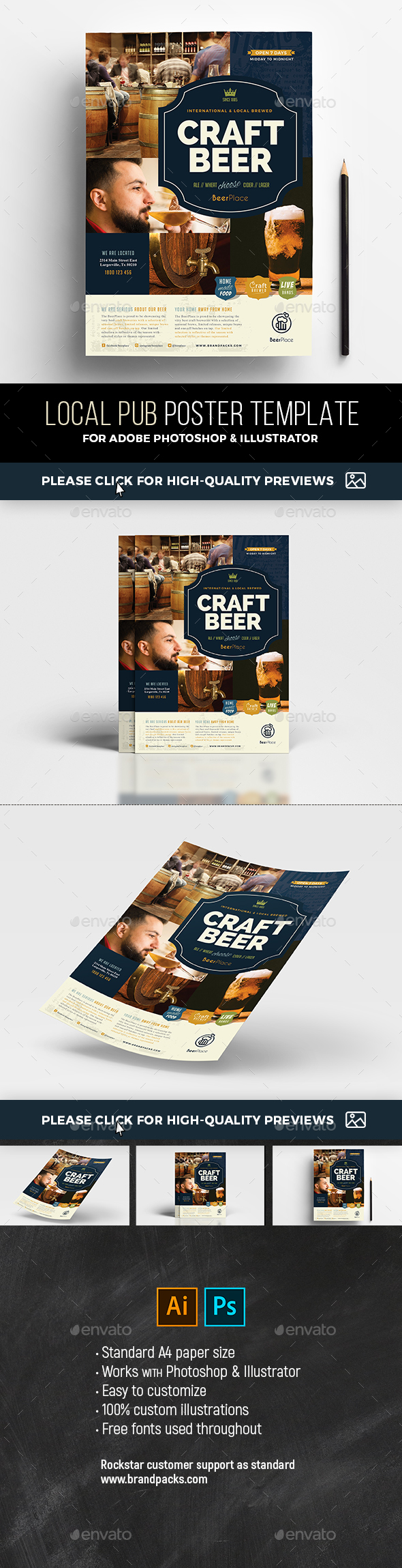 Local Pub Poster Template - Restaurant Flyers
