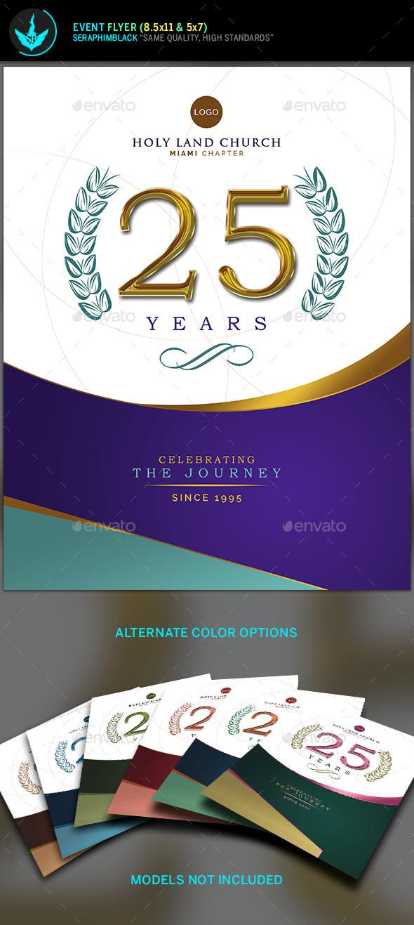 Regal Gold Lavender plus Teal Church Anniversary Flyer Template - Church Flyers