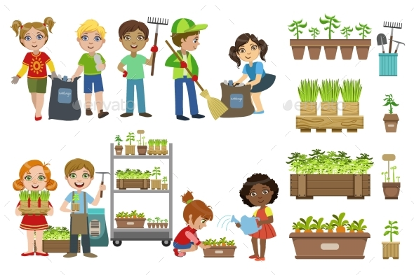 Kids Gardening and Picking Up Garbage Set - People Characters