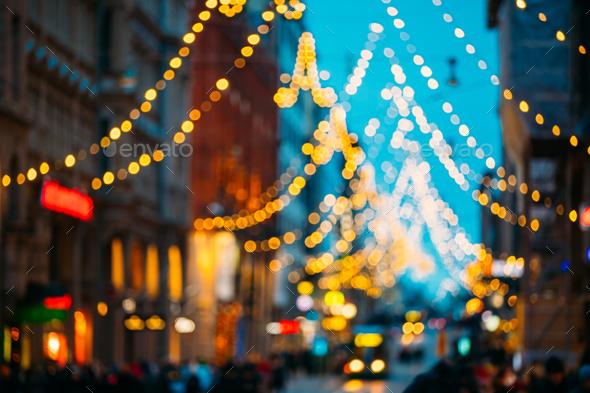 Helsinki, Finland. New Year Boke Lights Xmas Christmas Festive I - Stock Photo - Images