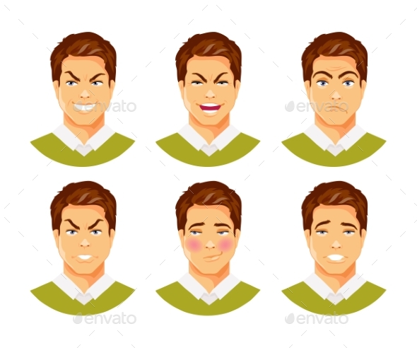 Man Emotions Vector 2 - People Characters