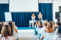 Abstract blur people lecture in seminar room - PhotoDune Item for Sale