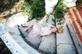 Girl is posing on the stone steps - PhotoDune Item for Sale