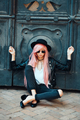 girl with pink hair posing on city street - PhotoDune Item for Sale