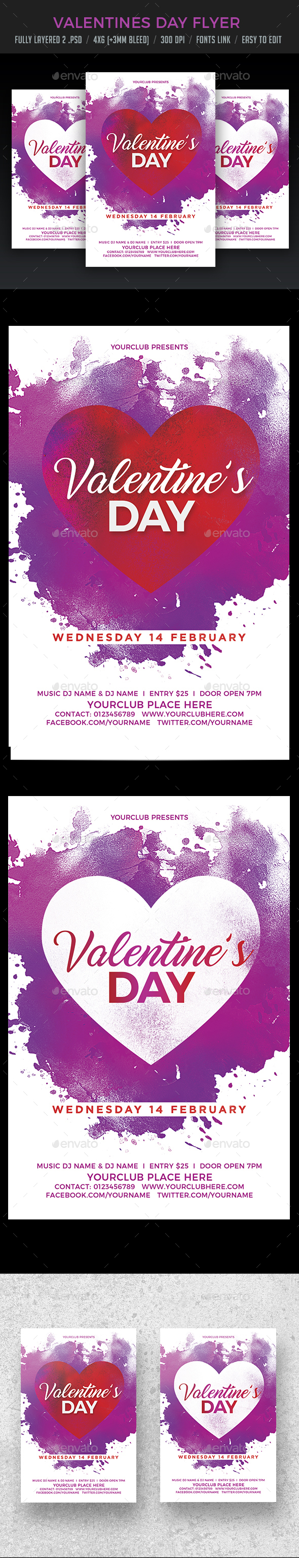 Valentine's Day Flyer - Clubs & Parties Events