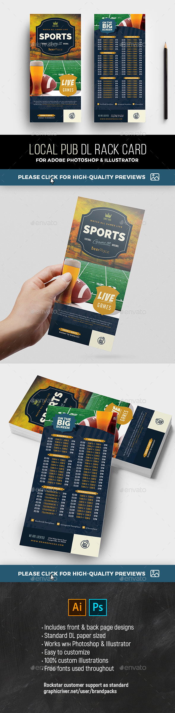 Sports Bar Rack Card Template - Restaurant Flyers