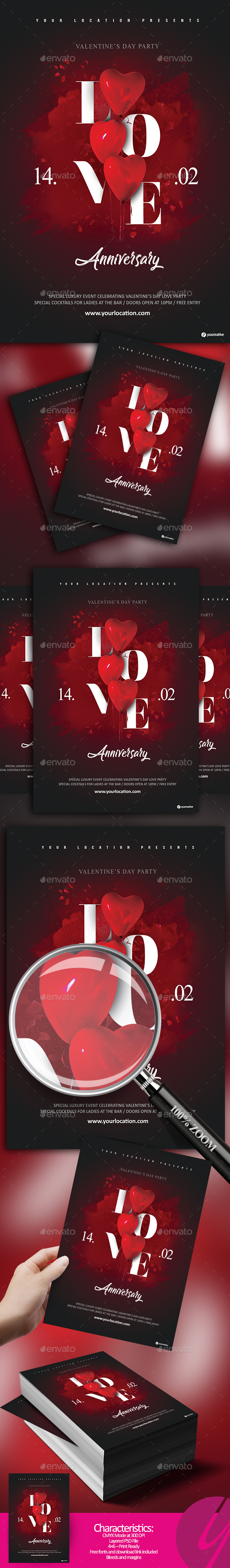 Love Anniversary Flyer - Clubs & Parties Events