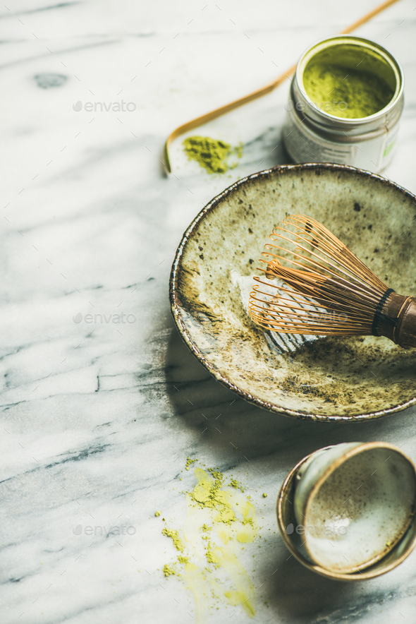 Japanese tools and cups for brewing matcha tea, selective focus - Stock Photo - Images