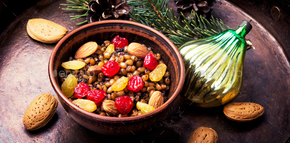 Wheat porridge with nuts and raisins - Stock Photo - Images