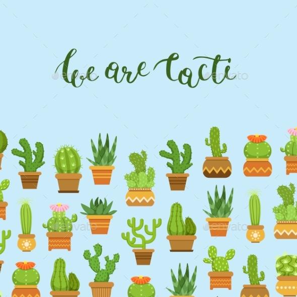 Vector Cacti in Plant Pots Illustration - Miscellaneous Vectors