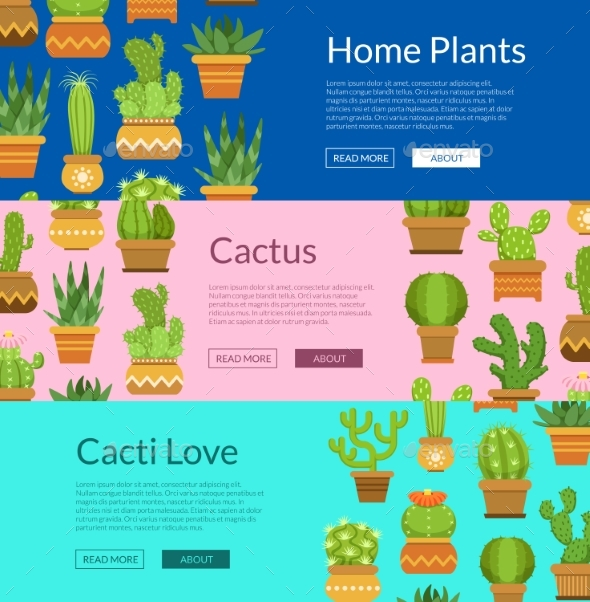 Banner Set with Home Plant Cacti - Miscellaneous Vectors