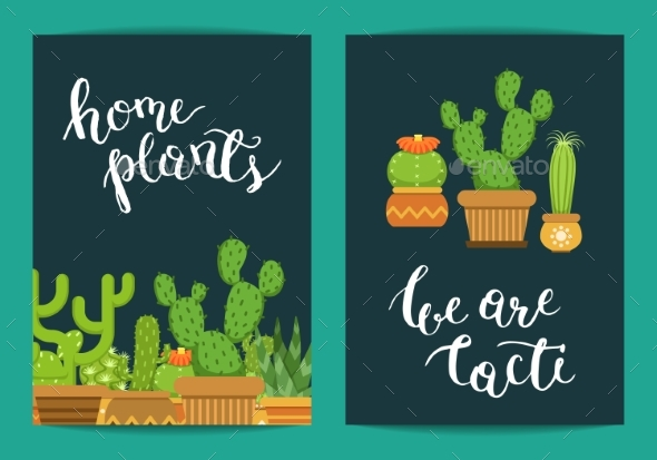 Vector Card Template with Lettering Home Plants - Miscellaneous Vectors