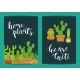 Vector Card Template with Lettering Home Plants