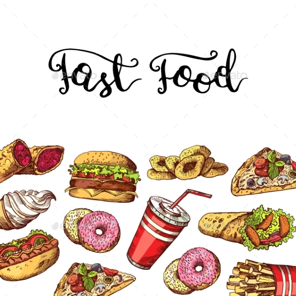 Vector Hand Drawn Fast Food Elements Illustration - Miscellaneous Vectors