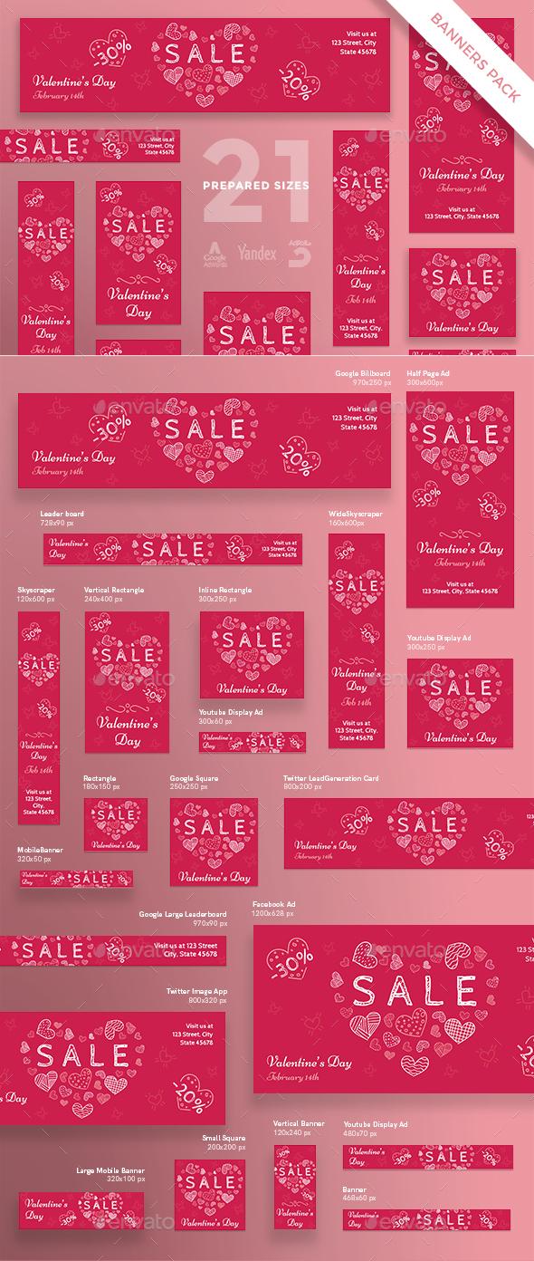 Valentine's Day Banner Pack
