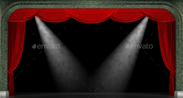 Red Curtains. 3D Render - 3D Backgrounds