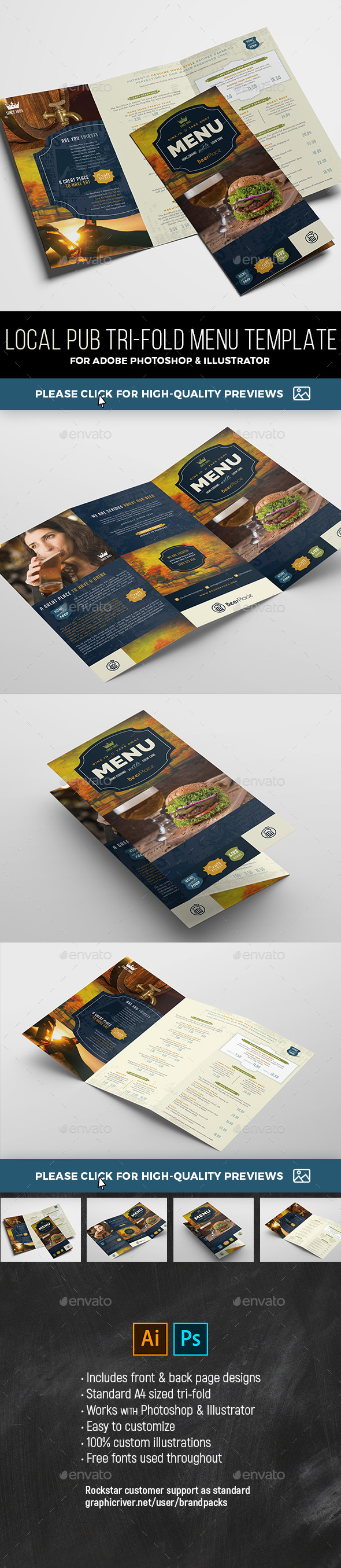 Tri-Fold Pub Menu Template - Restaurant Flyers