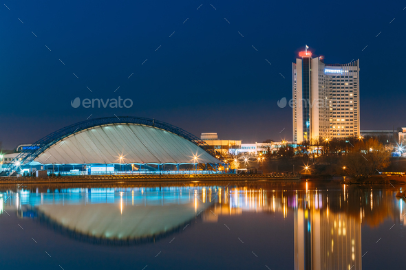 Minsk, Belarus. Soviet Hotel Building In Central Part Minsk, Dow - Stock Photo - Images