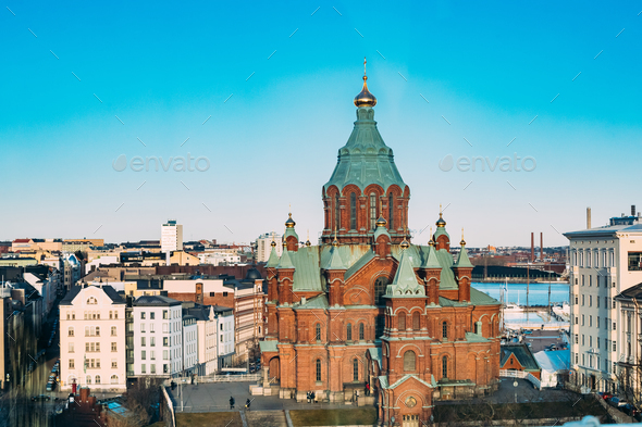 Helsinki, Finland. Uspenski Cathedral On Hill At Winter Sunny Da - Stock Photo - Images