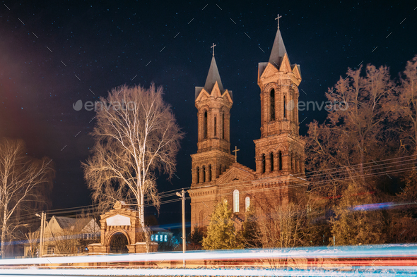Vitebsk, Belarus. Night View Of Old Cathedral Of St. Barbara On - Stock Photo - Images