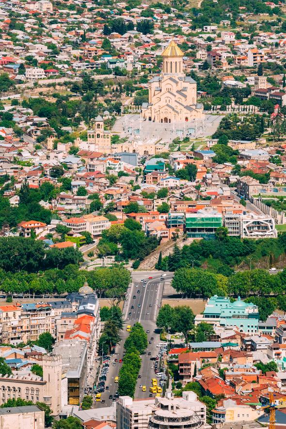 Tbilisi Georgia. Aerial View Of Baratashvili Bridge, Sameba Comp - Stock Photo - Images