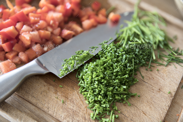 Chopping Chives - Stock Photo - Images
