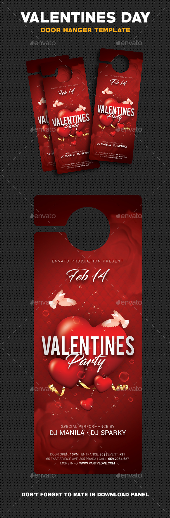 Valentines Day Party Door Hanger - Cards & Invites Print Templates