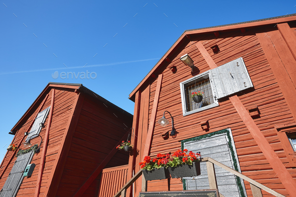Red wooden houses in Oulu city center. Finland highlight destination - Stock Photo - Images