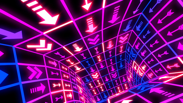 VideoHive Arrows Neon Flashing Tunnel 21241389