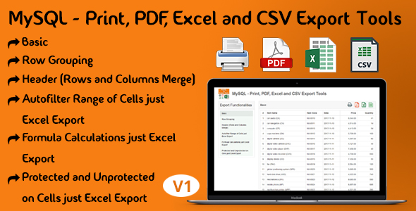 CodeCanyon MySQL Print PDF Excel and CSV Export Tools 21241393