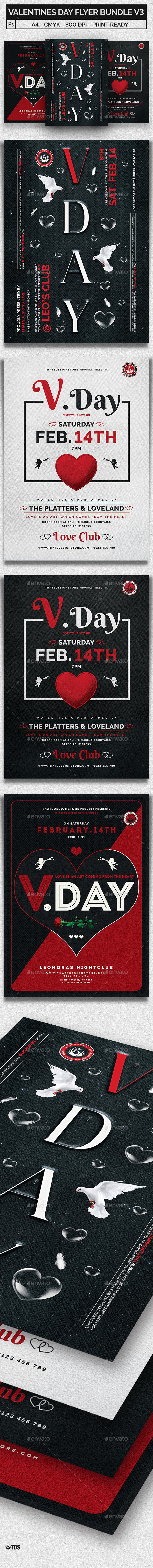 Valentines Day Flyer Bundle V3 - Clubs & Parties Events