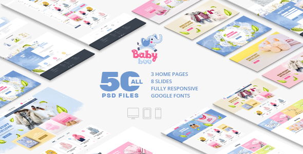 BabyBoo | Clothes, Shoes, Toys, Gifts Store | Сhildren & Babies | Fully Responsive | PSD template - PSD Templates