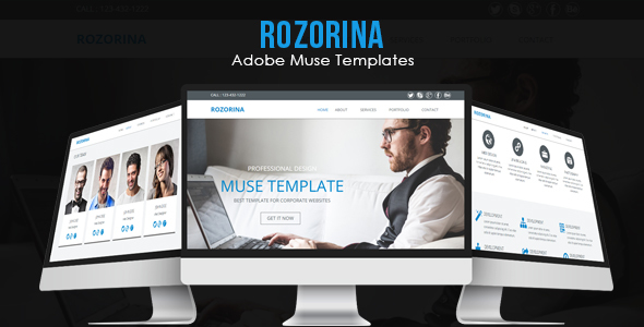 Rozorina Adobe Muse Template - Corporate Muse Templates