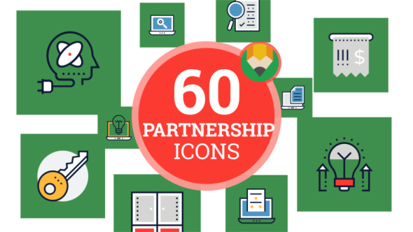 VideoHive Icons Pack Contract Business Team Partnership Flat Animated Icons 21241503