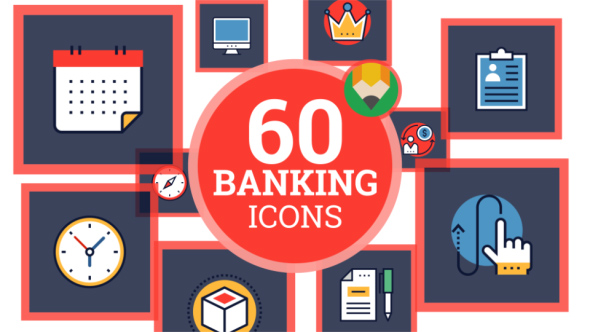 VideoHive Icons Pack Finance Banking Credit Payment Flat Animated Icons 21241506
