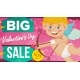 Valentine s Day Sale Banner Vector. Happy Cupid