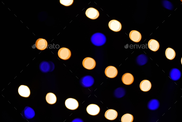 Bokeh led lights in a row at a concert - Stock Photo - Images