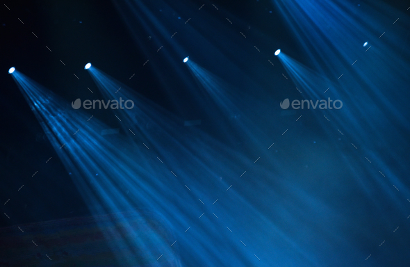 Blue stage lights during a rock concert - Stock Photo - Images