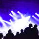 Cheerful crowd partying at a concert. Silhouette of friends socializing at a festival - PhotoDune Item for Sale
