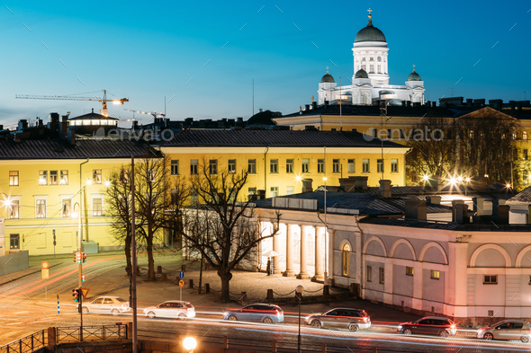 Helsinki, Finland. Night Evening View Of Helsinki Cathedral And - Stock Photo - Images