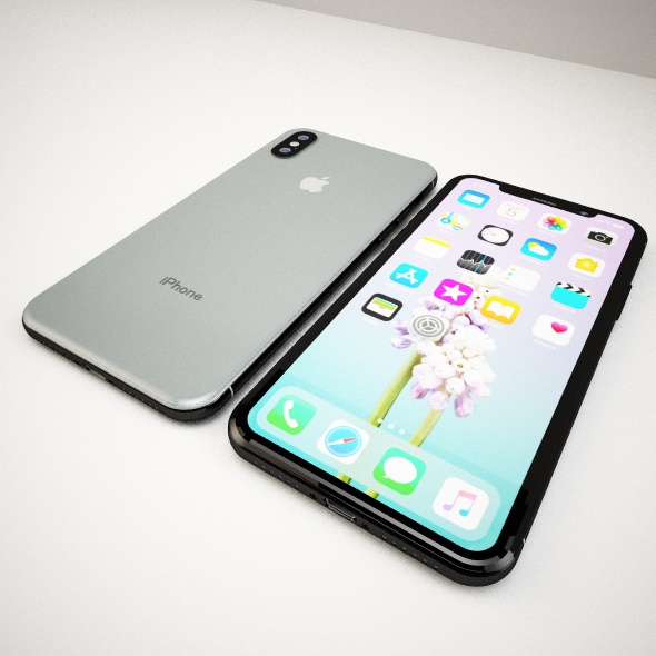 Iphone X black and logo apple - 3DOcean Item for Sale
