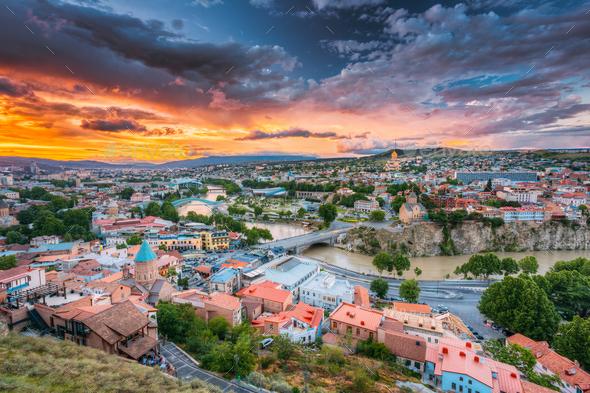 Tbilisi, Georgiai. Colorful Sunset. Summer Cityscape. - Stock Photo - Images